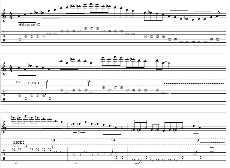 extended blues scale 2 3 licks