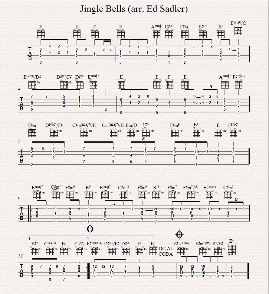 Jingle Bells Chord Melody For Guitar   Part 15   Vancouver Guitar ...